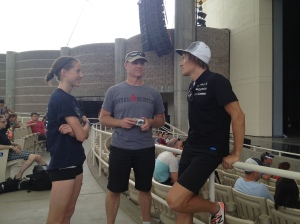 Brittany and I talking to the eventual race winner, World Champion Sebastian Kienle!!!