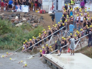 Entering the water for the swim start!