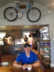 Having a coffee at the HandleBar Cafe!